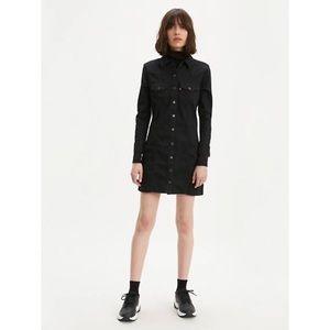 Levi's Gia Western Dress Black Denim Snap Buttons
